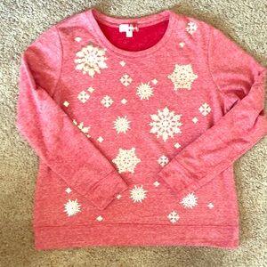 MerryWear Red sweatshirt with snowflakes